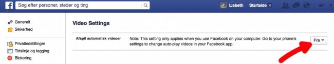 Stop autoplay af video på Facebook