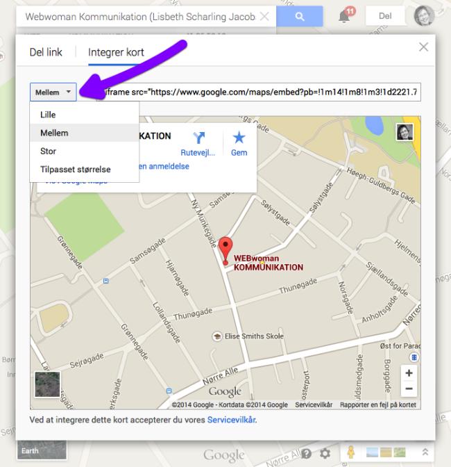 Sæt Google Map ind på dit website