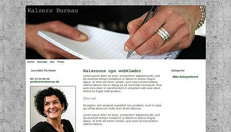 KaisersBureau har fået hjemmeside lavet i WordPress - med webdesign lavet af WebWoman Kommunikation