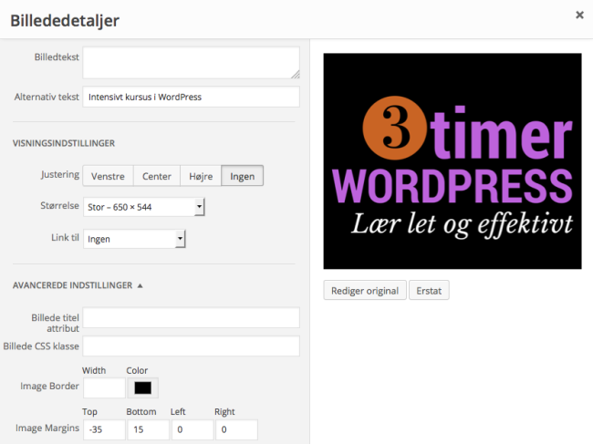 Styre billeders placering i WordPress
