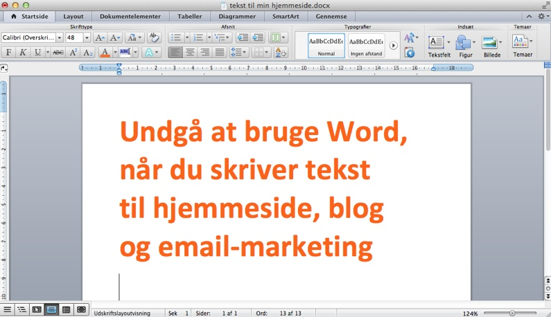 Drop Word når du skriver til WordPress