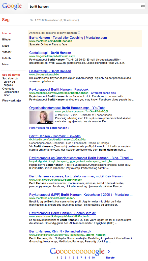 Beritt Hansen på Google