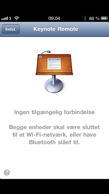 Din iPhone ig iPad skal være på samme WiFi-net eller forbindes via Bluetooth