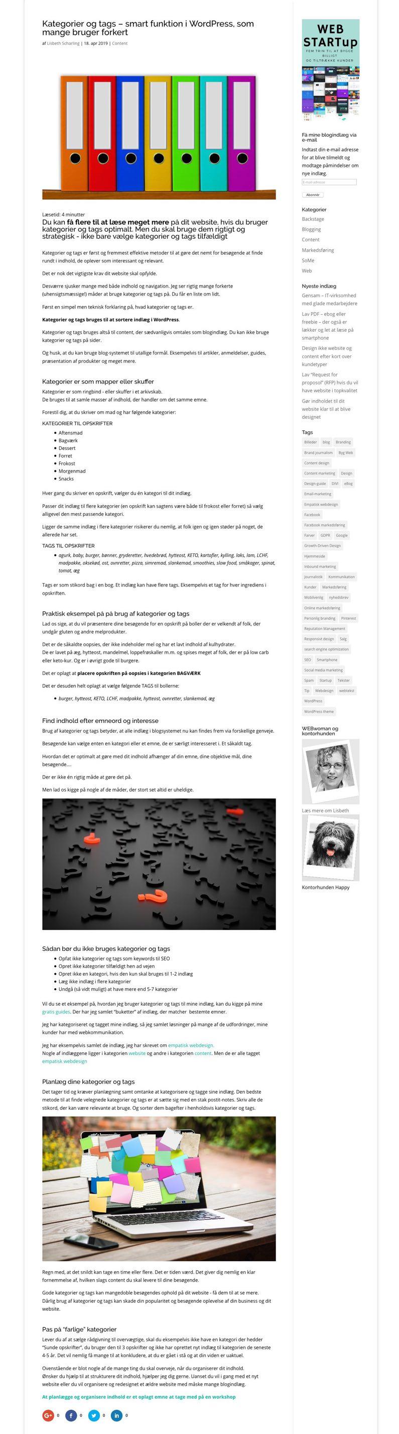 Enkel webside med meget lang tekst